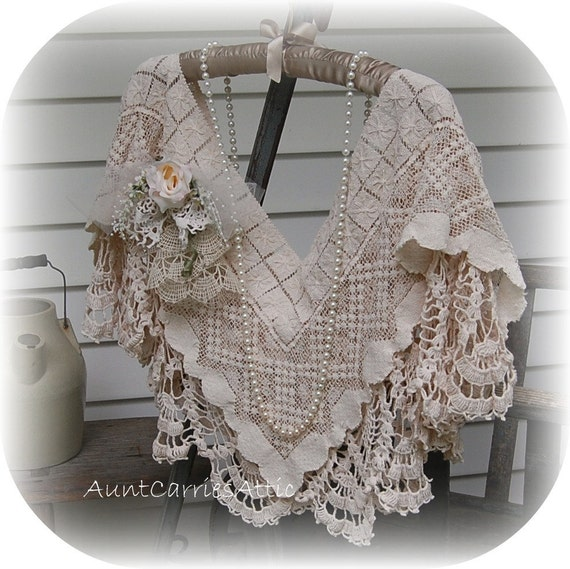 Vintage Lace Shawl High Fashion Renaissance Tea Party