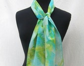 Saturated Pastel Golden Daisy Motif Silk Scarf - Ready to Ship