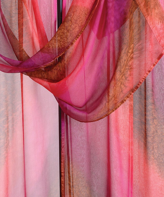 RED HIBISCUS Hand Painted Silk Ruana