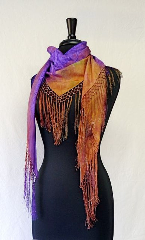 Sedona Sunset Hand Painted Silk Scarf with hand-tied fringe