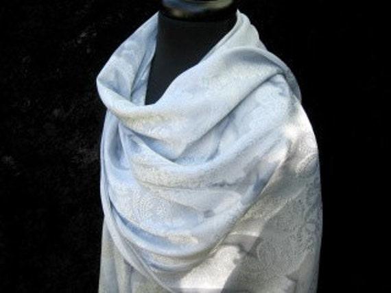 TAG Sale Dove Grey Jacquard Hand-dyed Silk Shawl