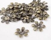 CLEARANCE Bronze Bead Cap 50 Antique Bronze Flower 6-Petal Point Bendable 16mm NF (1023cap16z1)os