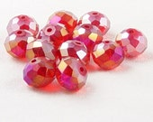 Glass Bead 12 Red AB Rondelle Faceted 10mm x 7mm (1014gla10r1)