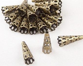 REDUCED Bronze Bead Cap 50 Cone Antique Bronze 22mm x 9mm (1030cap22z1)