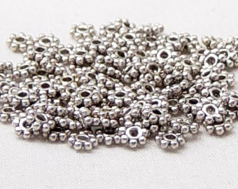 Bead Spacer 100 Antique Silver Daisy Flower 4mm NF (1014spa04s1)