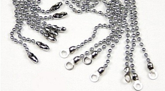 14 SILVER CEILING FAN Lamp size 6 Ball Chains with End Connectors and Rings