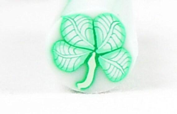 SALE... 4 leaf CLOVER FLOWER Plant Polymer Clay Cane Green 139 ... last one