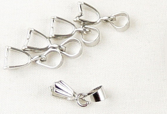 5 Pinch Bails Shiny Silver Bright Platinum Fancy 15mm long 5mm wide (1011bai15s1) ... last remaining package