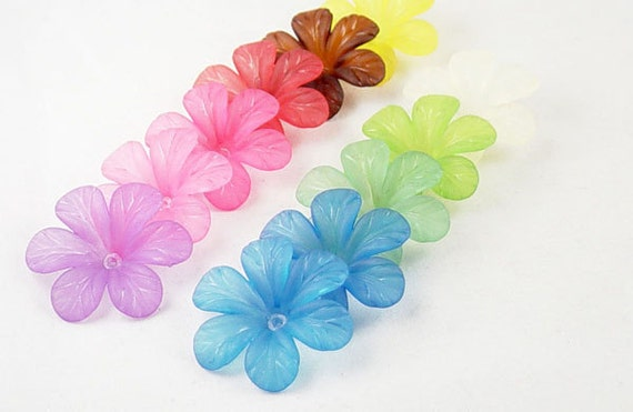 12 Acrylic Beads 6 Petal Point Star Daisy Flower Frosted 30mm (1022luc30m2)