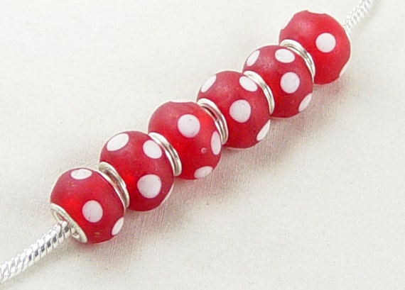 6 Lampwork European Rondelle Beads with Silver Plated Eyelets Polka Dot 13mm wide (1013pan13r1)