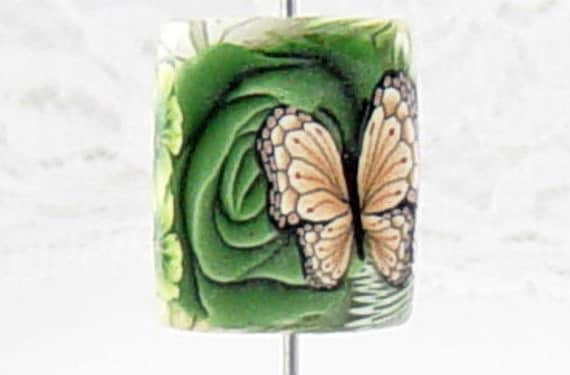SALE... RECTANGLE Focal BUTTERFLY Flower Polymer Clay Bead 1819