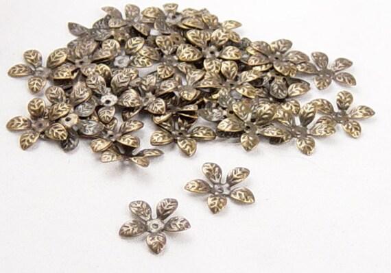 Bronze Bead Cap 50 Antique Bronze 5 Point Leaf Bendable 15mm NF (1022cap15z1) ... last remaining packages