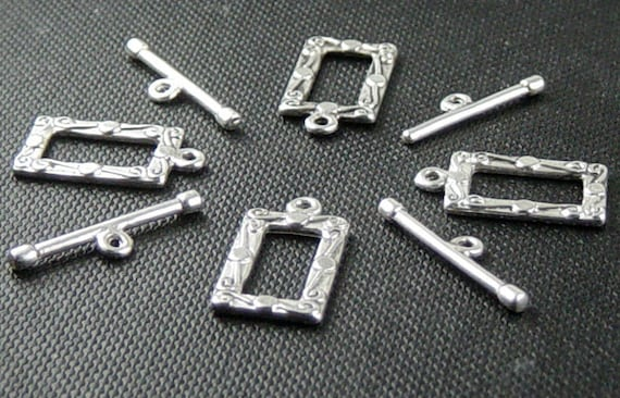 CLEARANCE Toggle Clasp 4 Antique Silver Rectangle Square Victorian 22mm x 13mm NF (1014cla22s1)os