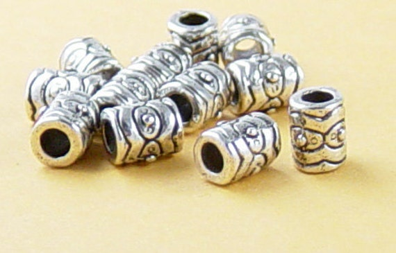 Bead Spacer 50 Antique Silver Barrel 6.5mm long x 5mm wide Large Hole 3mm NF (1040spa06s1)