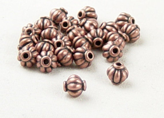 Bead Spacer 24 Antique Copper Corrugated Round 6mm x 5.4mm NF (1044spa06c1) ... last remaining packages