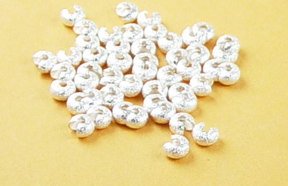 Crimp Cover 50 Crimping Beads Stardust Silver Glitter 4mm (1020cri04s1) ... last remaining packages