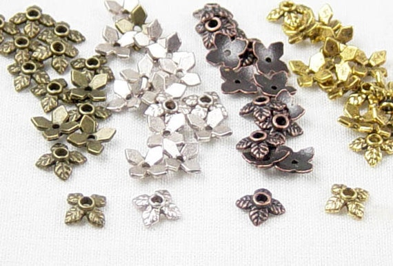 Bead Cap 60 of Antique Silver, Bronze, Copper, Gold Combo 4 Point Leaf 8mm x 2.5mm (1012cap08m2) ... last remaining packages