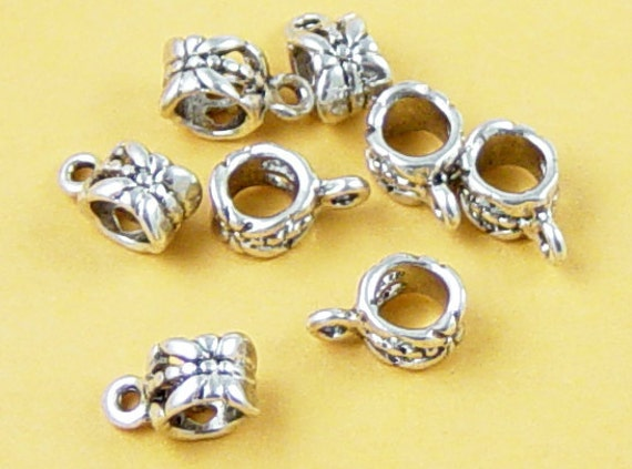 Bead Spacer 8 Bail Antique Silver Tube Barrel 11.5mm x 8mm Large Hole 5mm (1058spa11s1) ... last remaining packages