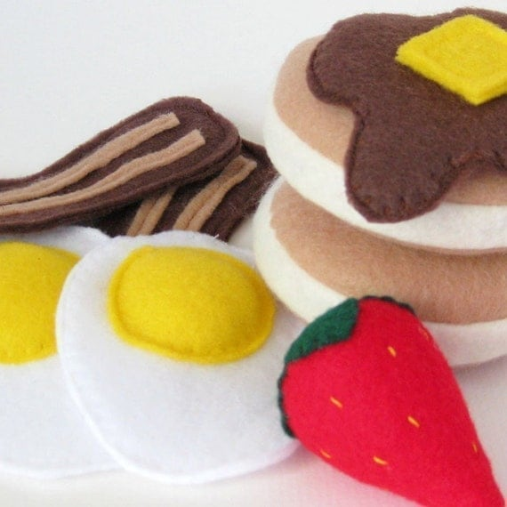 Pancakes Eggs and Bacon Breakfast Felt Play Food Set