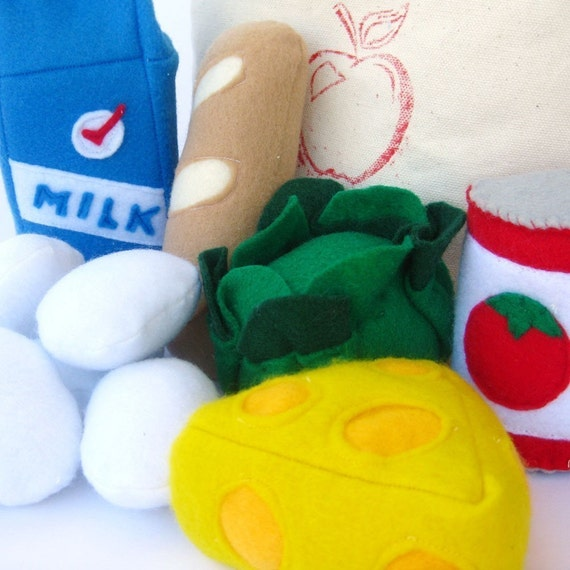 Grocery Market Bag Felt Play Food Set