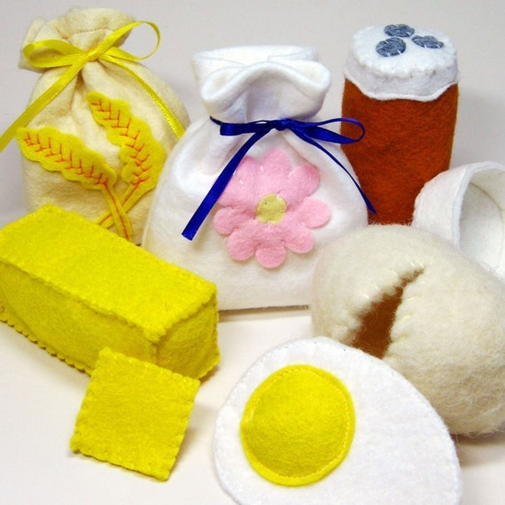 Felt Food Baking Ingredients Wool Play Set