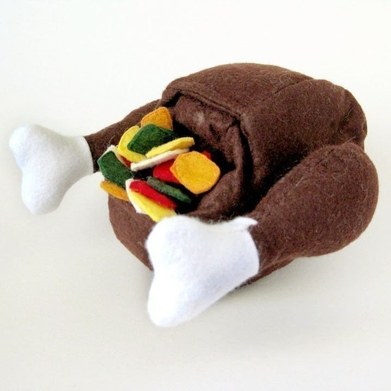 CYBER MONDAY SALE 20% off Felt Food Turkey with Stuffing Toy Play Set