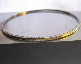Skinny Golden Bangle/Sterling Silver and Keum Boo Bracelet