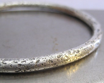 Chunky Wabi Sabi Sterling Silver Bangle Bracelet