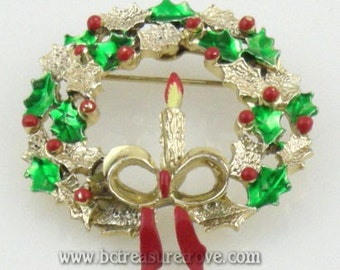 Christmas Pin Wreath with Candle Vintage Signed Gerrys
