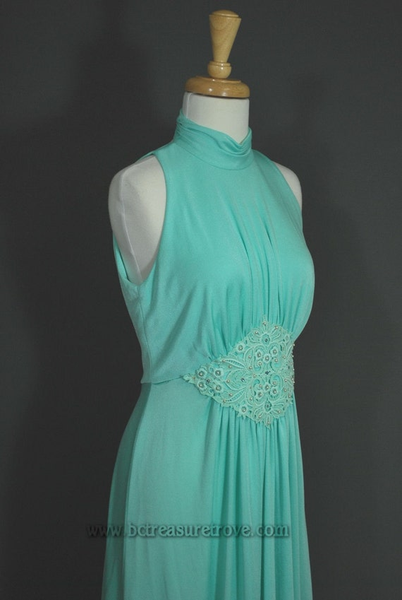 1970s Seafoam Green Grecian Style Formal Dress with Cape by Sylvia Ann