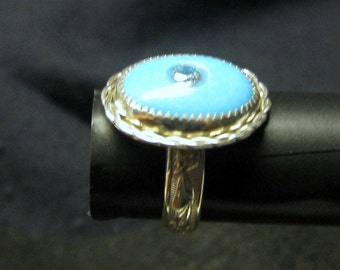 Open adjustable sterling silver band turquoise ring size 7