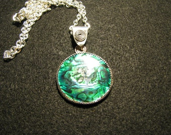 Bright green paua shell and silver pendant 38 mm