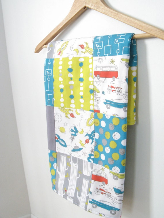 Mid century modern Baby Blanket (security blanket, patchwork blanket, organic blanket, baby boy) / Eco-friendly baby gift