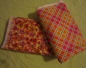 Set of 2 Swaddle Blankets Orange Black Pink Floral Stripe Check Girl