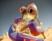 Dichroic Glass Cool FROG Ice Cube Paperweight Figurine Toad Gold & purple (made to order)
