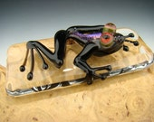 Dichroic Glass Frog Paperweight Figurine Art Tile purple, black, VGW KT  (made to order)