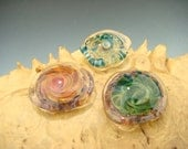 3 pc Boro GLASS cabochons mixed color lot organic shape dome cab borosilicate cabs ( Ready to ship)