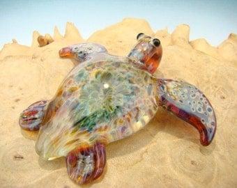 GLASS Sea Turtle PENDANT Focal Boro Lampwork Bead Totem VGW