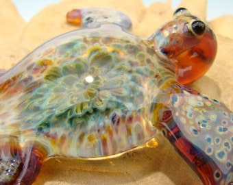 GLASS Sea Turtle Pendant Focal Boro Lampwork Bead Totem VGW KT Purple multi (made to order)