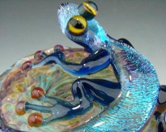 Dichroic Glass LIZARD Gecko Paperweight Figurine Blue Purple with Vortex (made to order)