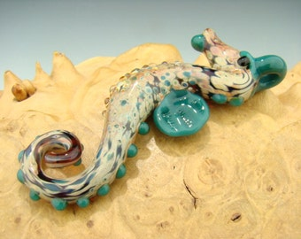 Glass Seahorse Pendant Boro Lampwork Focal Art Bead Aqua VGW KT (made to order)