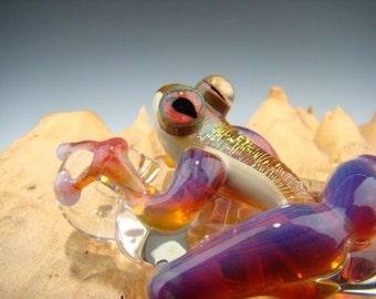 Glass Frog Pendant Dichroic Lampwork Borosilicate Focal Boro Bead Sun Catcher Totem, Gold, Purple, Pink (made to order)