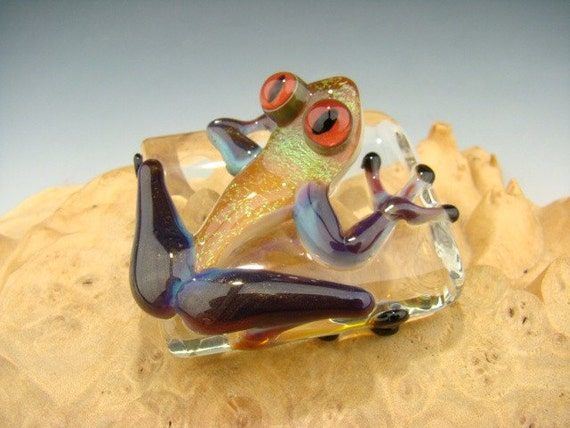 Dichroic Glass Art FROG Paperweight Figurine Tile VGW (made to order)