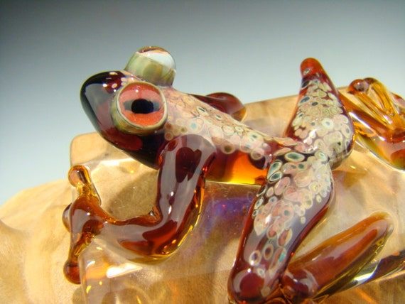 Dichroic Glass Art FROG Paperweight Figurine Tile Amber with metallic overlay (made to order)