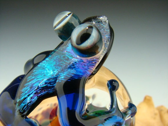Glass Dichroic Frog and Mushroom Paperweight Toad Figurine Cobalt Blue Lampwork  Boro (made to order)