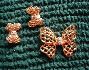 VINTAGE BUTTERFLY BROOCH AND EARRINGS