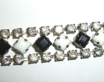 Milk Glass & Rhinestone BRACELET 1950s