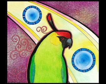 Original Signed Artwork Horned Parakeet as Totem Animal