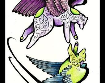 Original Angel Bears Flight Illustration