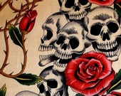 "ALEXANDER HENRY skull ""rose tattoo"" quilt fabric"